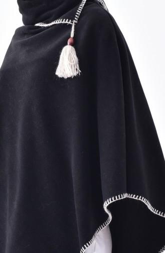 Şal Yaka Polar Panço 1001-06 Siyah 1001-06