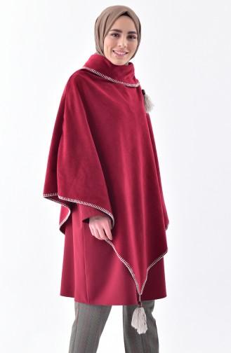 Shawl Collar Fleece Poncho 1001-07 Plum 1001-07