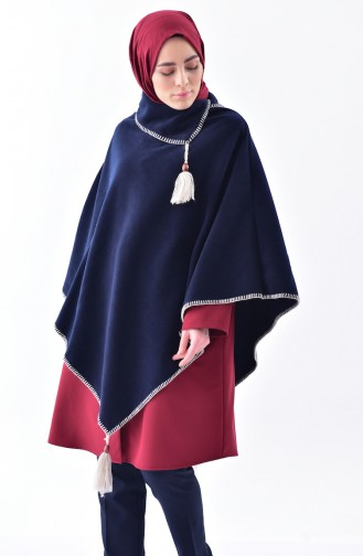 Shawl Collar Fleece Poncho 1001-08 Navy 1001-08