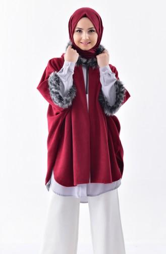 Hooded Polar Fleece Poncho1002-01 Damson 1002-01