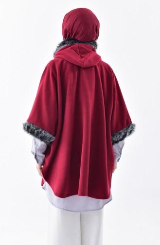 بونشو موصول بقبعة بتفاصيل من الفرو 1002-01 لون ارجواني 1002-01