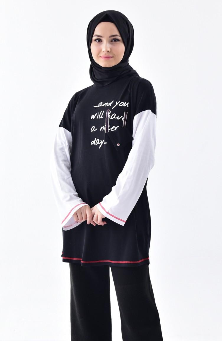 a7a84883289 Natural Fabric Printed Sports Tunic 1009-01 Black 1009-01