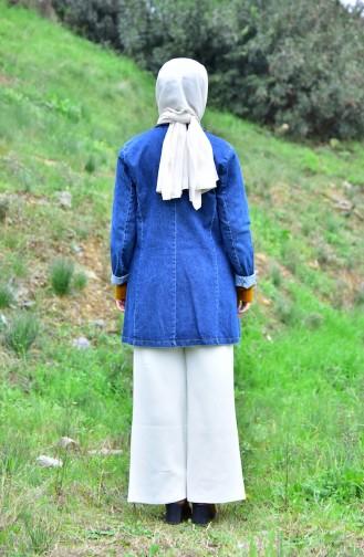 جاكيت جينز بتصميم ياقة مثنية 4421-02 لون كحلي 4421-02