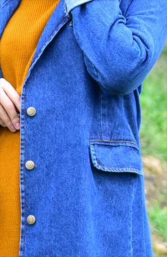 Double Breasted Collar Jeans Jacket 4421-02 Navy Blue 4421-02
