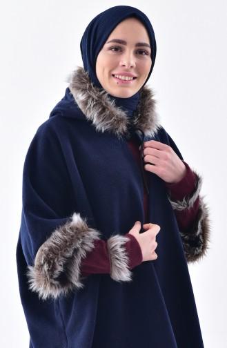 Hooded Polar Fleece Poncho 1002-03 Navy Blue 1002-03