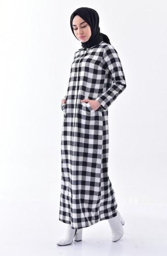 Ekose Desenli Elbise 1002A-01 Siyah
