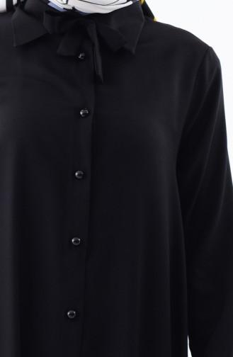 Tunique a Boutons Col Cravate 1182-01 Noir 1182-01