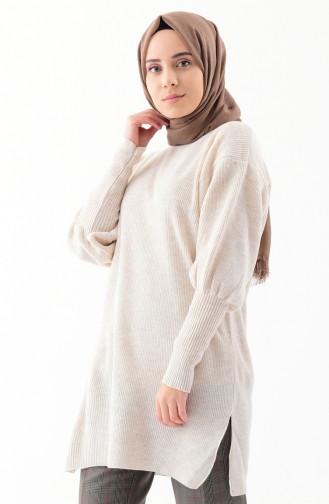 Baloon Sleeve Knitwear Tunic 2124-06 Beige 2124-06