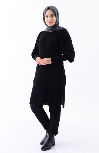 Baloon Sleeve Knitwear Tunic 2124-09 Black 2124-09