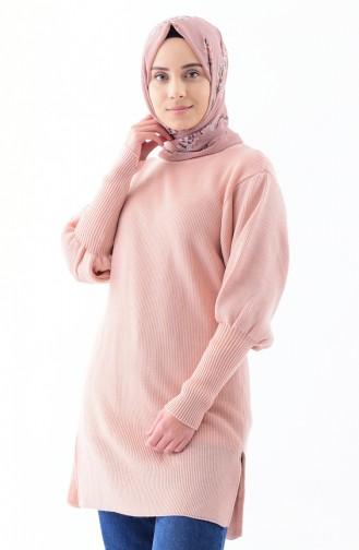 Baloon Sleeve Knitwear Tunic 2124-10 Salmon 2124-10