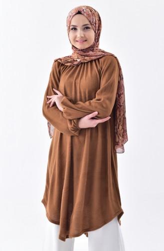 Büzgülü Asimetrik Tunik 3040-03 Camel