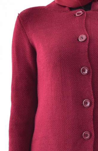 Buttoned Knitwear Cardigan 3916-04 Claret Red 3916-04