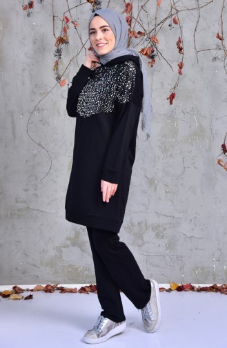 SefaMerve Sequined Sweat Suit  1407-01 Black 1407-01