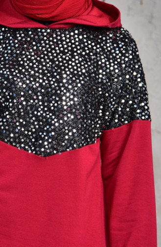 SefaMerve Sequined Sweat Suit  1407-05 Claret Red 1407-05