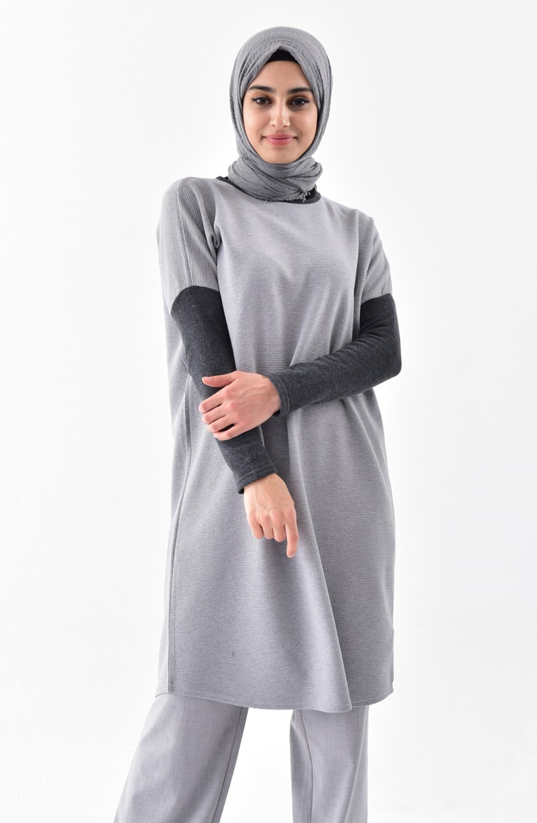 fdb2955eb3a Bat Sleeve Tunic 7340-01 Gray 7340-01