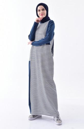 Çizgili Elbise 1098-01 Ekru Lacivert