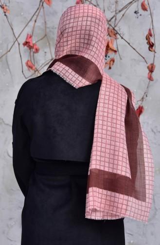 Geflammter Baumwollschal mit quadratischem Muster 2150-16 Dunkelpuder 2150-16