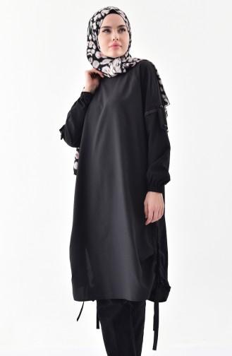 تونيك بتصميم أكمام مزمومة 5003-03 لون أسود 5003-03