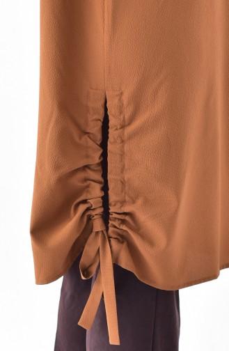 تونيك بتصميم أكمام مزمومة 5003-07 لون عسلي 5003-07