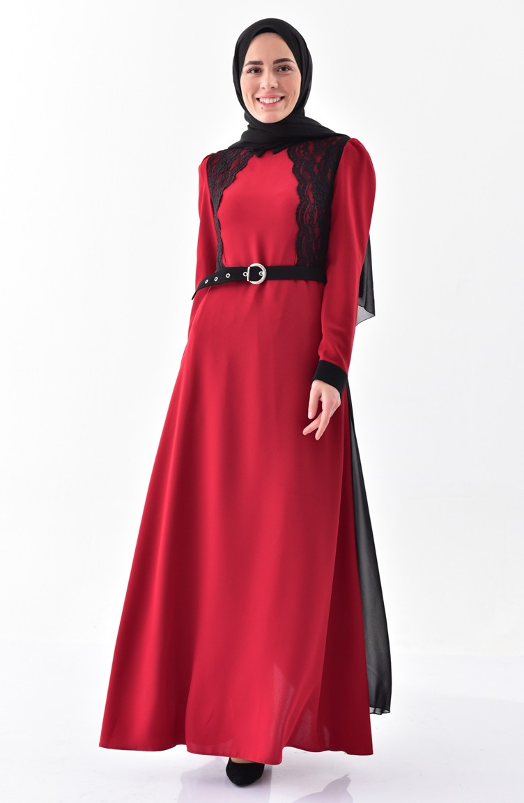 0601facf9aa0 Lacy Belt Dress 0197-06 Bordeaux Black 0197-06