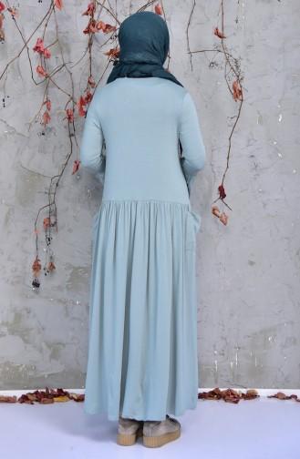 فستان قطن بتصميم طيات 9008-01 لون اخضر 9008-01
