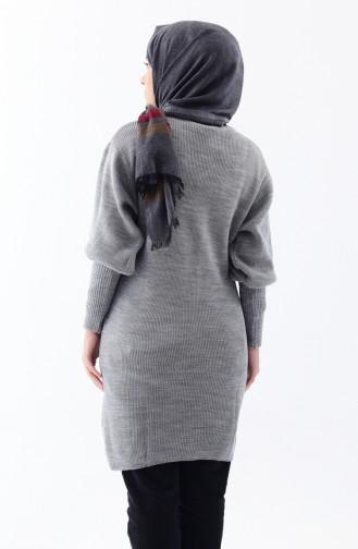 Baloon Sleeve Knitwear Tunic 2124-04 Gray 2124-04