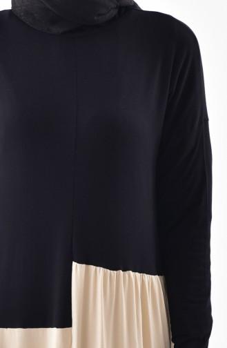 تونيك بتصميم واسع 9007-02 لون أسود وبيج 9007-02