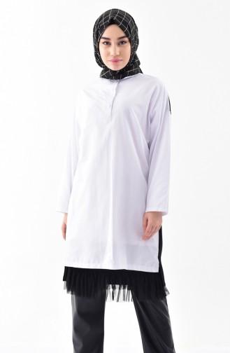 Gömlek Yaka Tunik 9009-01 Siyah Beyaz 9009-01