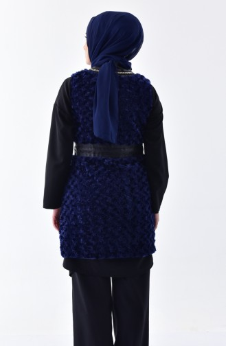 ريتا سترة بدون أكمام صوف مُزينة بتفاصيل من الجلد 70104-01 لون كحلي 70104-01