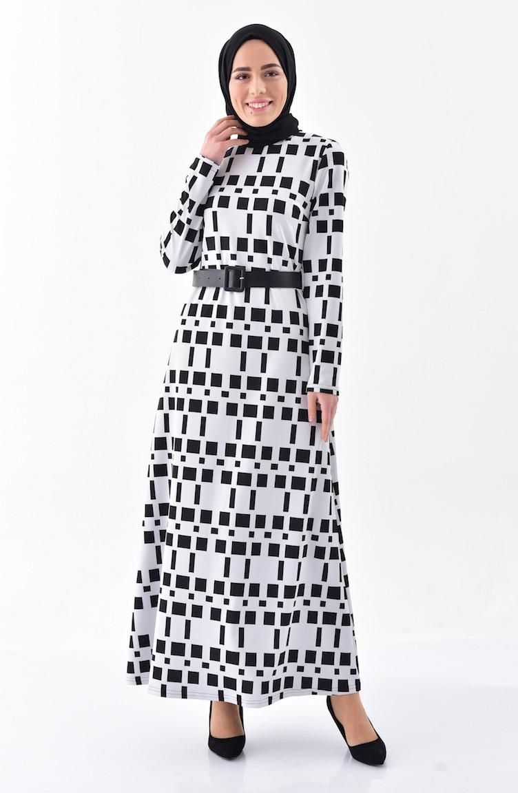cbea6549377ef Desenli Kemerli Elbise 7122-01 Siyah Beyaz