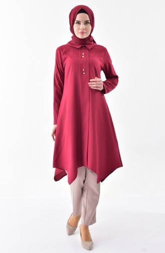 Shirt Collar Pleated Tunic 1162-12 Claret Red 1162-12