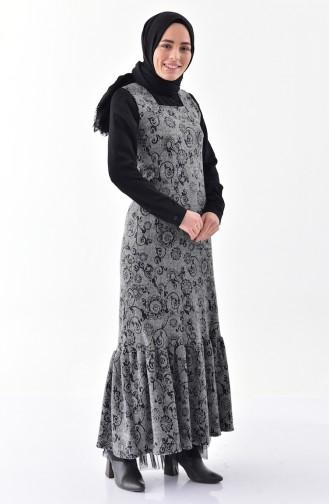 Gemustertes Winter Gilet Kleid 7144-01 Grau 7144-01