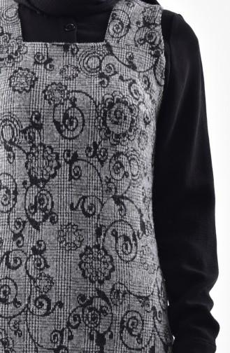 دلبر فستان بدون اكمام بتصميم مُطبع 7144-01 لون رمادي 7144-01