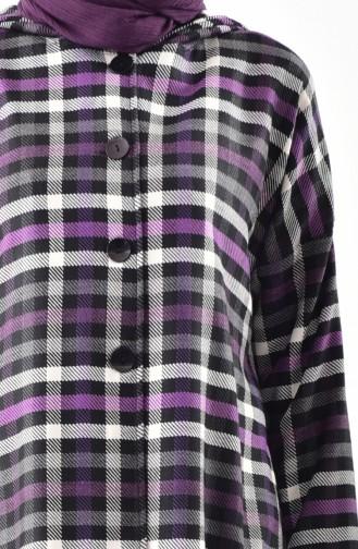 TUBANUR Plaid Patterned Hooded Cape 3062-02 Purple Black 3062-02