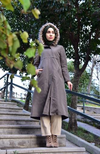 Mantel mit Pelz 5108-05 Khaki 5108-05