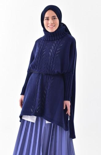 iLMEK Knitwear Tress Pattern Poncho 4109-03 Navy Blue 4109-03