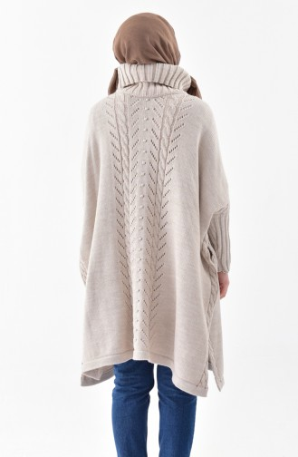 iLMEK Knitwear Tress Pattern Poncho 4109-05 Mink 4109-05