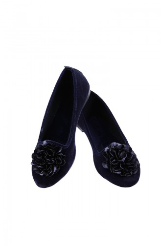 Women Balerina Shoes 0107-04 Navy Blue Suede 0107-05