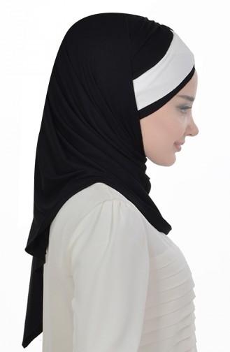 Zwei Farbige Bonnet aus Gekämmte Baumwoll-Schwarz Creme CPS0040-6-8 0040-6-8
