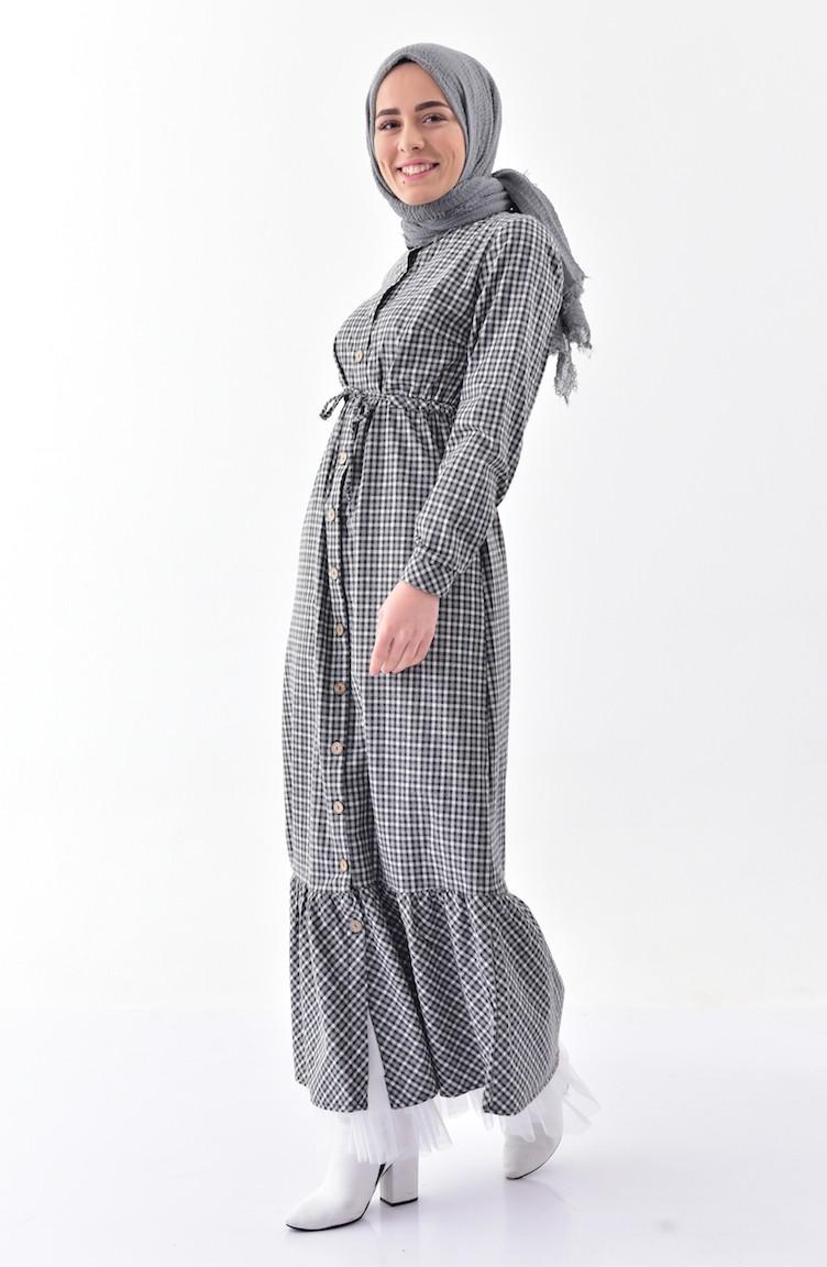 741bdc60faaa2 Pötikare Desenli Elbise 2036-02 Siyah