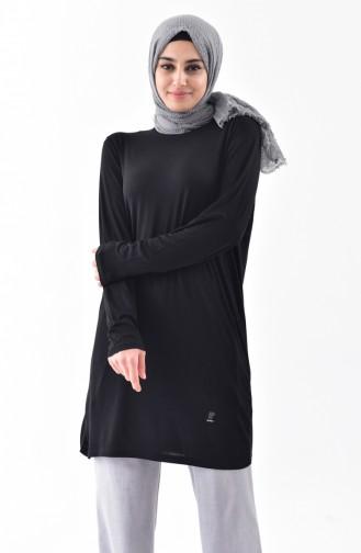 Doğal Kumaş Yarasa Kol Penye Tunik 1058-05 Siyah 1058-05