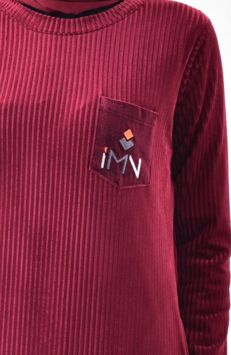 Pocket Embroidered Dress 99167-03 Bordeaux 99167-03