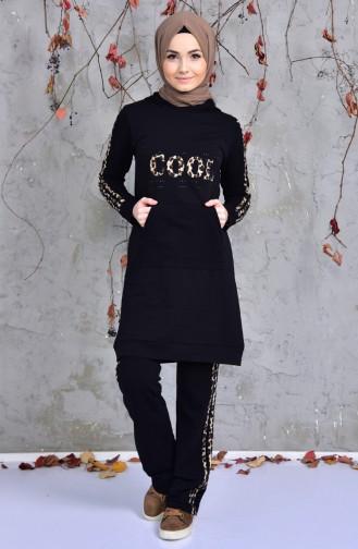 Sefamerve Leopard Patterned Sportswear  1409-01 Siyah 1409-01