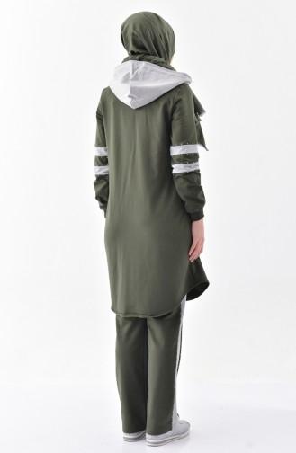 Stone Printed Tracksuit Suit 2038-03 Khaki 2038-03