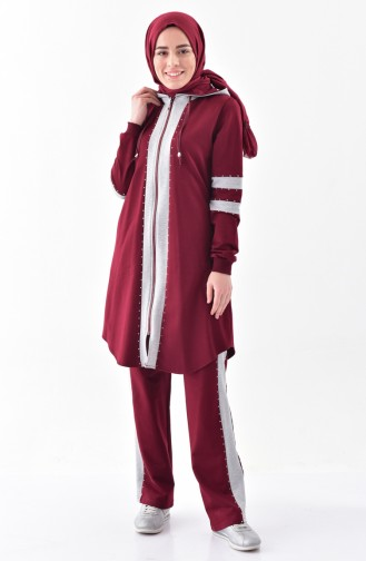 Stone Printed Tracksuit Suit 2038-04 Burgundy 2038-04