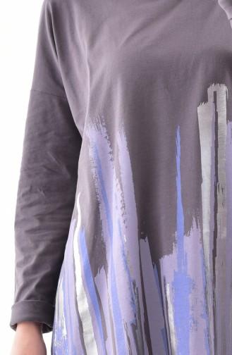 تونيك قطن بتصميم مُطبع 1051-02 لون اسود مائل للرمادي 1051-02