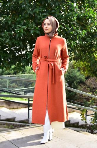 Belted Fleece Coat 1006-03 Tile Red 1006-03