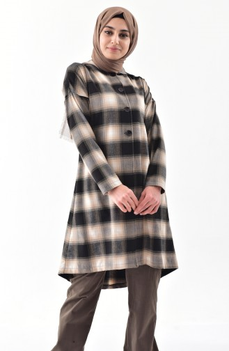 TUBANUR Plaid Patterned Hooded Cape 3062-01 Brown 3062-01