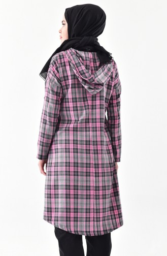 TUBANUR Plaid Patterned Hooded Cape 3062-03 Gray Pink 3062-03