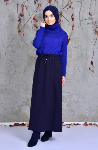Waist Elastic Skirt 1090-01 Navy Blue 1090-01